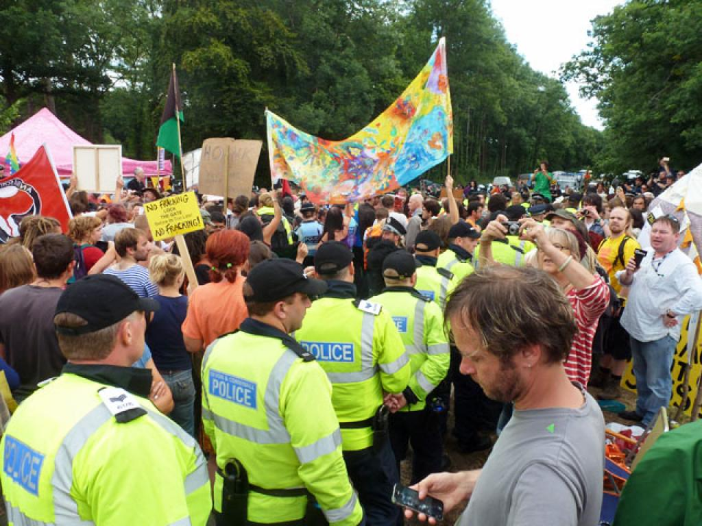 An anti-fracking protest in Balcombe, West Sussex, England            Credit: Wikimedia Commons