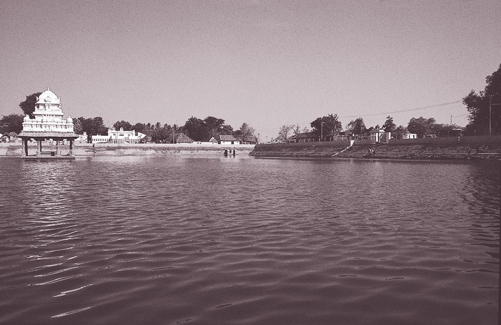 चेन्नई शहर में मंदिरों से लगे 39 तालाब अर्थात कुलम हैं जिनमें बरसात का पानी भरता है। इनसे भी बाढ़ पर रोक लगाने और भूजल का स्तर बनाए रखने में मदद मिलती है। सोमंगलम तालाब चेन्नई के अड्सार बेसिन के ऊपरी हिस्से में स्थित है। सोमंगलम कुलम को इसी से पानी मिलता है (फोटो: एस राजम / सीएसई)