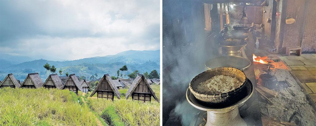 After harvest, dried stalks of rice are stacked in huts, called leuit, where they can be stored for decades; The Ciptagelar people use traditional cookware to steam the rice on an open wood fire (Photo: Nadine Freischlad)