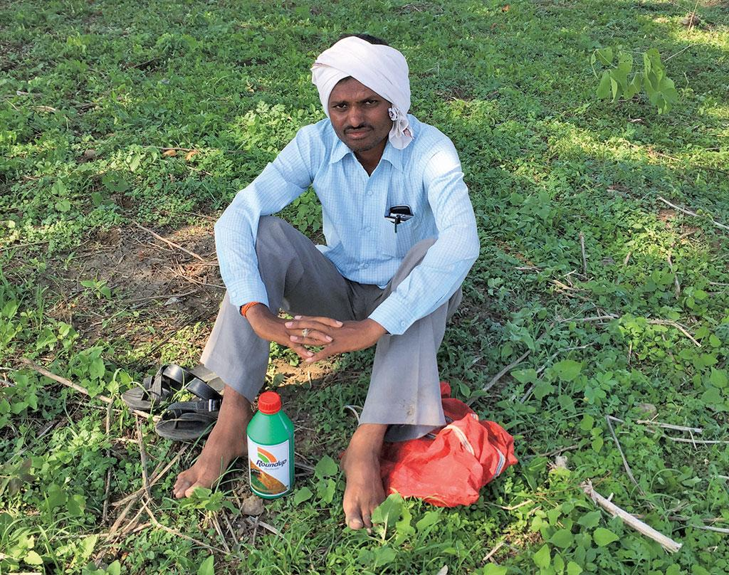 Vasudeo Rathod of Jarang village in Yavatmal district in Maharashtra, who grows cotton on his 16-hectare farm, says he cannot farm without glyphosate because the cost of manual labour is too high (Photographs: Vibha Varshney)