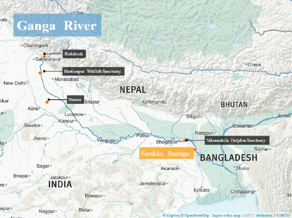 Dolphin population concentrations along the upper and middle stretches of the Ganga. Credit: Beth Walker