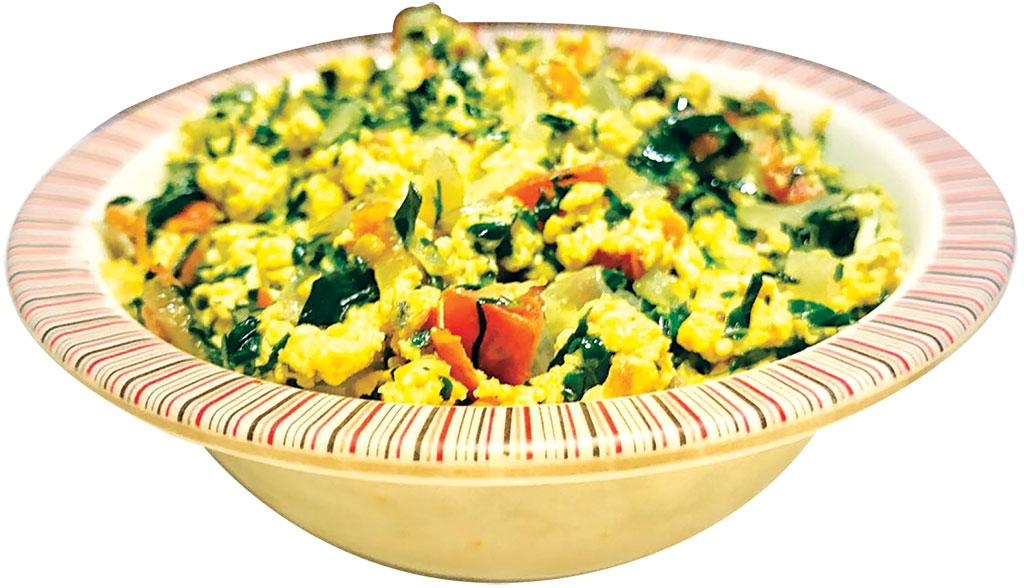 Scrambled eggs prepared with tender tree spinach leaves is sufficient to take care of one's daily requirement of nutrition (Photo: Megha Prakash)