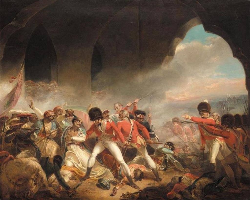 A painting depicting the last stand of Tipu Sultan at the Siege of Srirangapatna       Credit: Wikimedia Commons