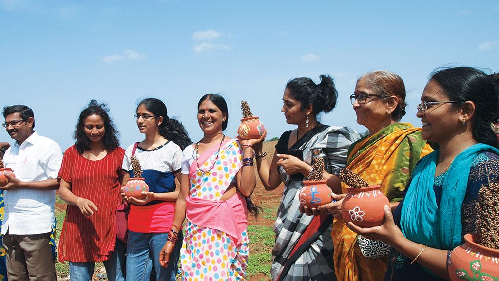 Shakribai (centre) of Arjun Nayak Thanda village welcomes urban consumers to her world of biodiverse farming