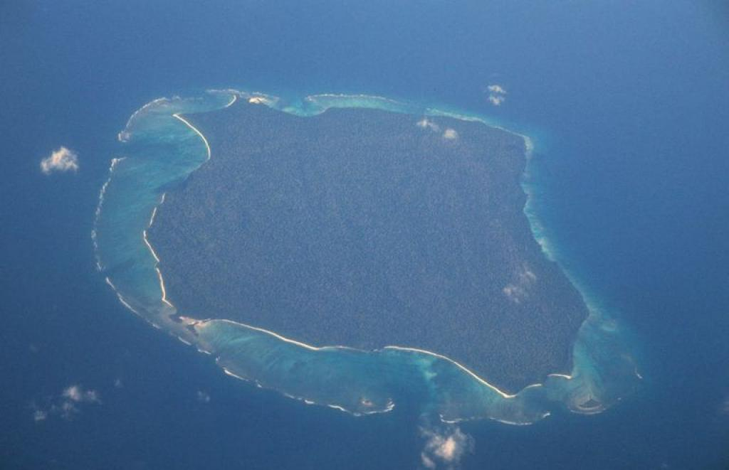 Aerial photograph of North Sentinel Island       Credit: Wikimedia Commons