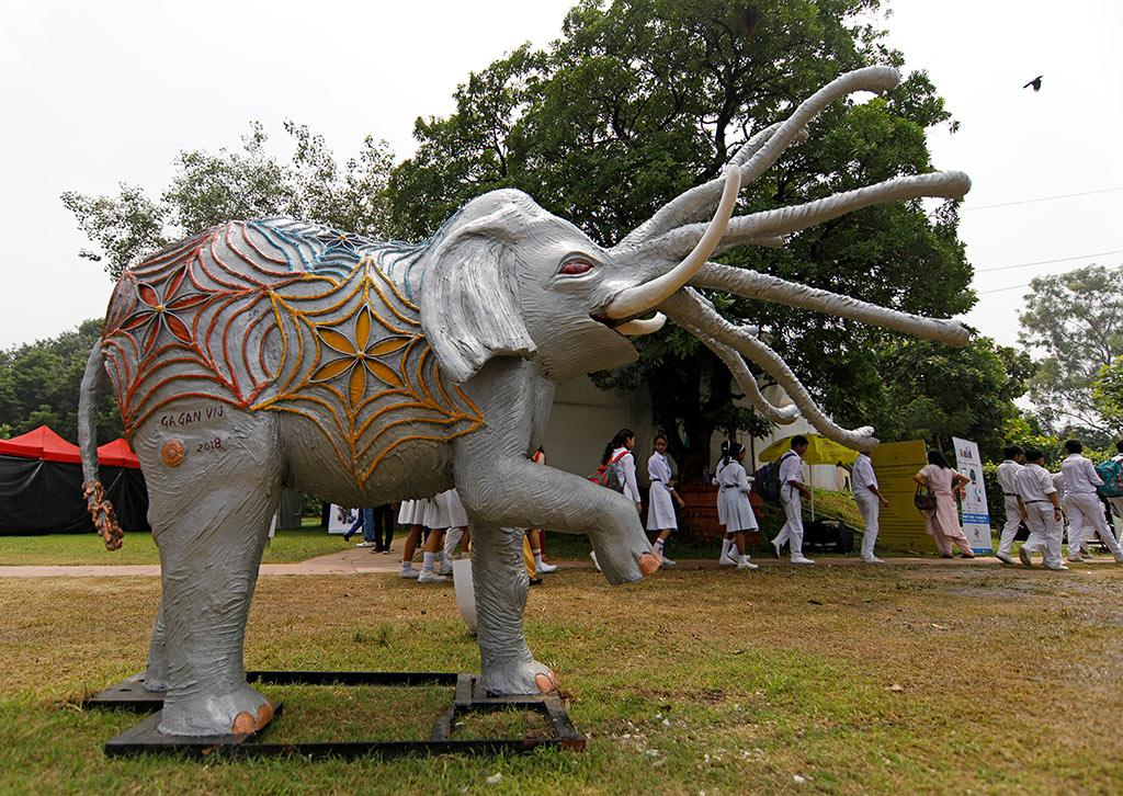 This is an art installation depicting Airavata, the mythical 'vahana' of Lord Indra. Perhaps no animal occupies as prominent a place in Indian consciousness as the elephant. In many parts of the country, the entrances to people's homes are marked with icons or images of Ganesha/Vinayaka/Pillaiyar.