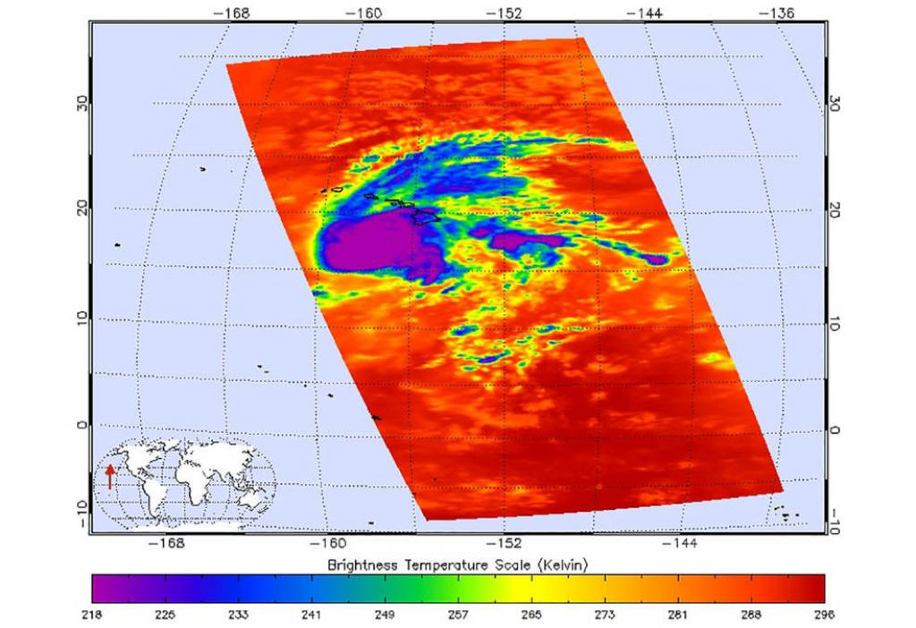 This image shows Hurricane Lane as observed by the Atmospheric Infrared Sounder (AIRS) instrument on NASA's Aqua satellite on Thursday, August 23.