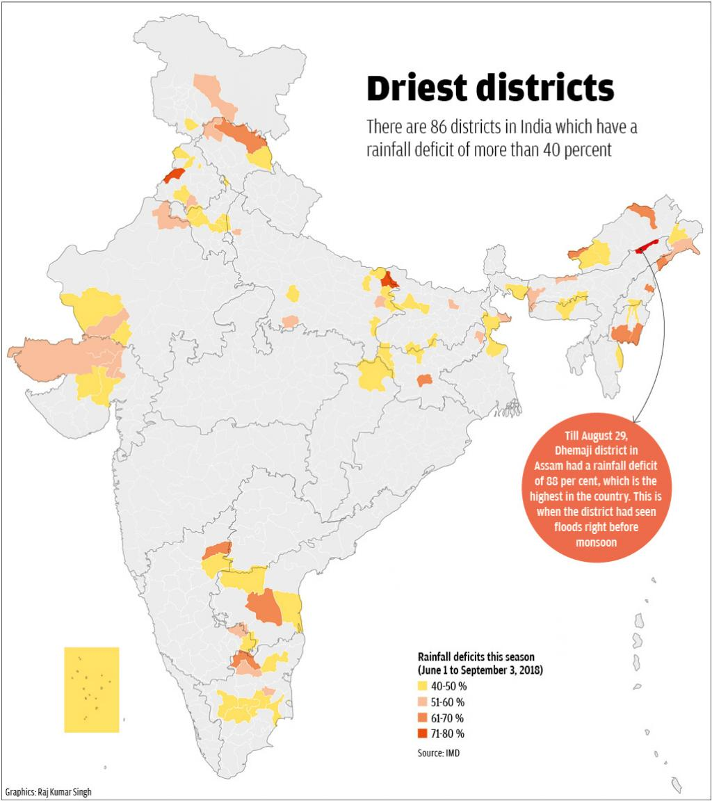 A map showing the districts that have seen a rainfall deficit this monsoon. Credit: Raj Kumar Singh