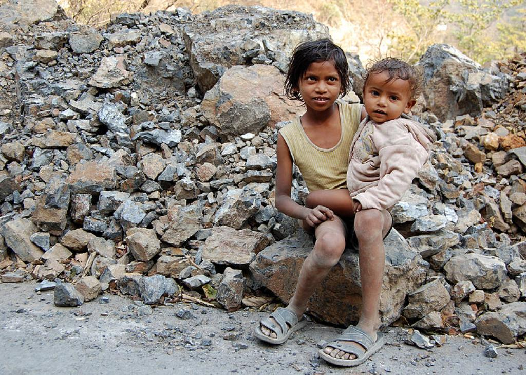 Poverty is one of the major reasons that children don't receive education. Credit: Wikipedia