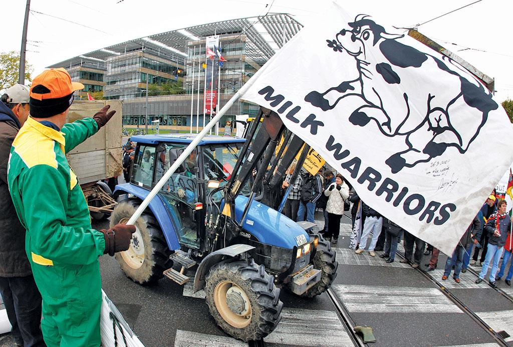 European dairy farmers protest in Brussels in July 2018 against milk price crash (Credit: Reuters)