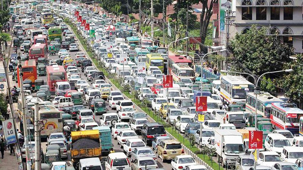 A congested street in Dhaka, Bangladesh, which is a big market for used foreign cars