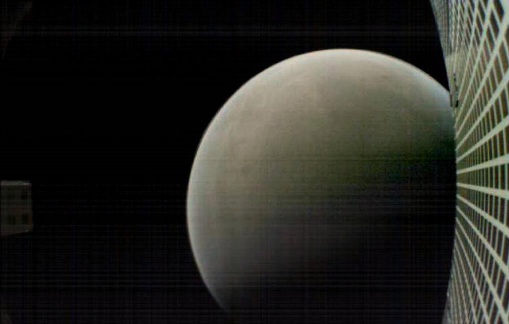 MarCO-B, one of the experimental Mars Cube One (MarCO) CubeSats, took this image of Mars from about 4,700 miles (6,000 kilometers) away during its flyby of the Red Planet. Credit: NASA