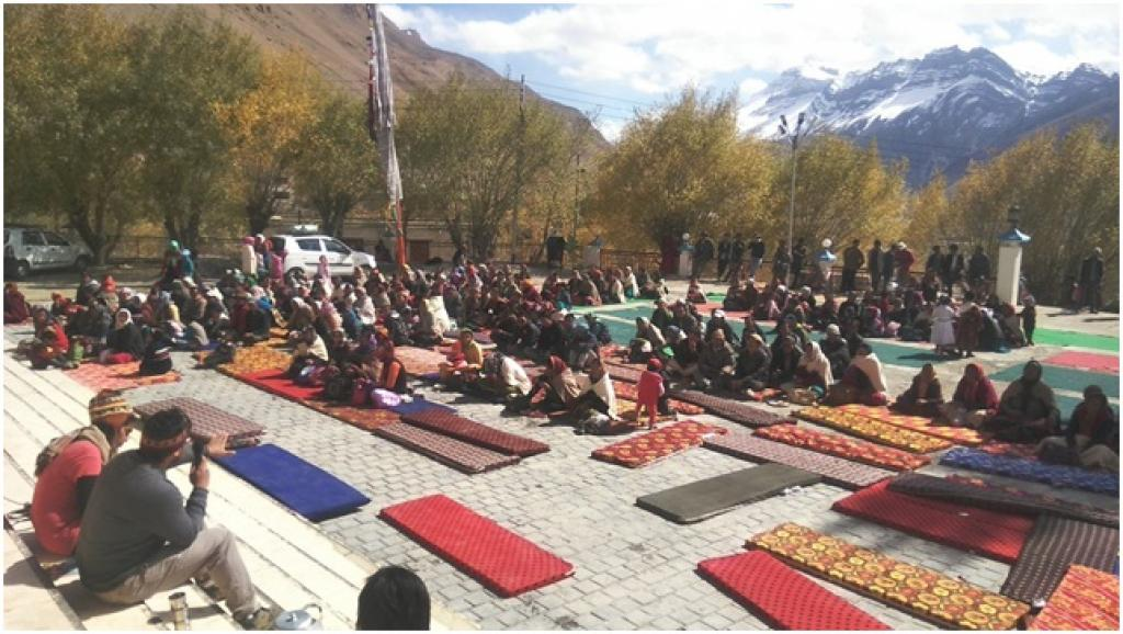 Public meeting at a Gompa in Kaza. Credit: Vaishnavi Rathore