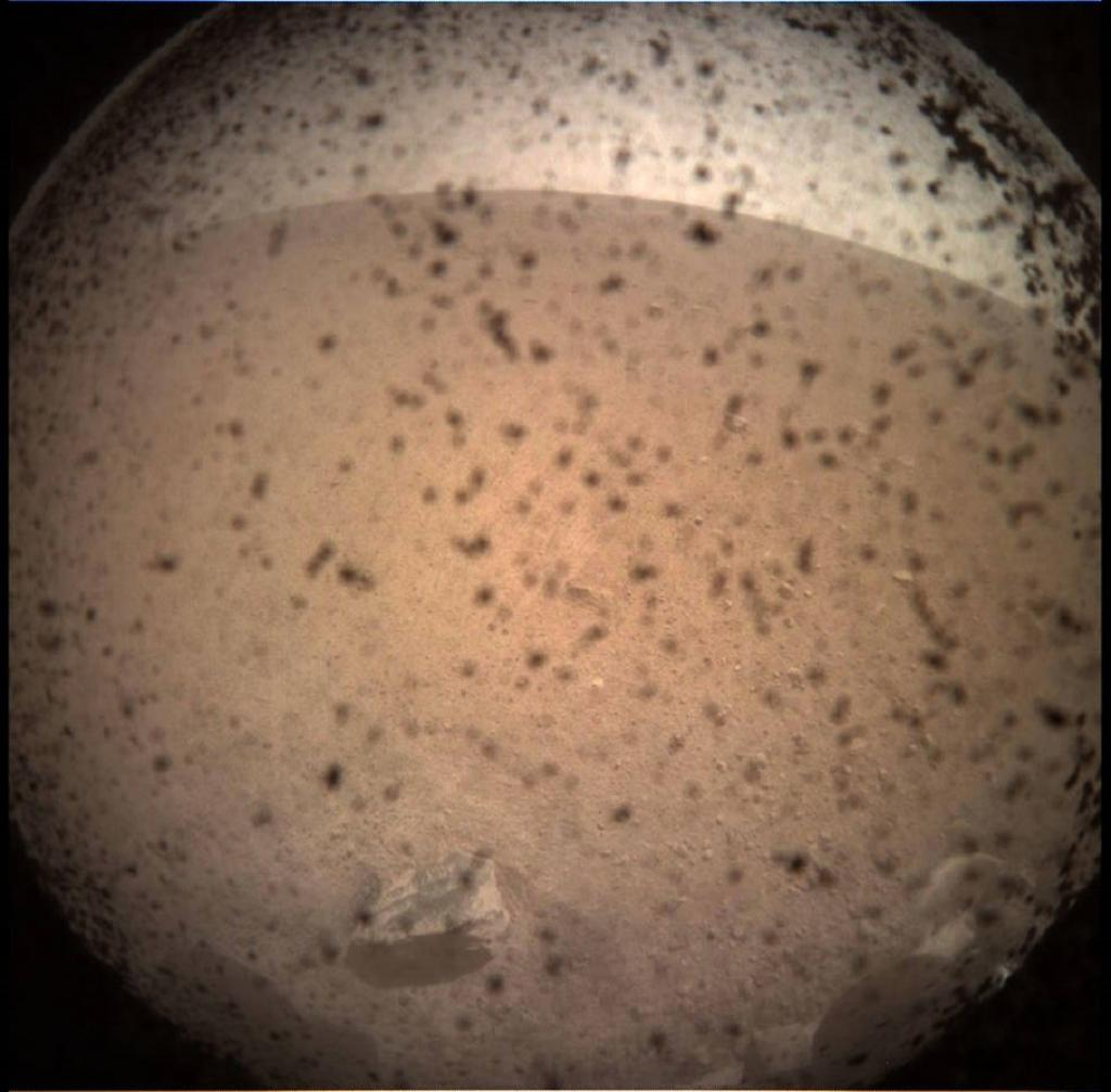 InSight Mars lander acquired this image of the area in front of the lander using its lander-mounted, Instrument Context Camera (ICC). Credit: NASA