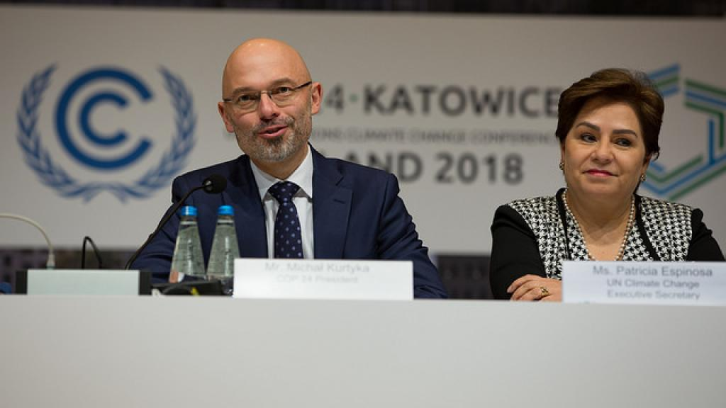 COP President Michal Kurtyka and Patricia Espinosa, UN's climate chief, speak at the conference. Credit: UNclimatechange/Flickr