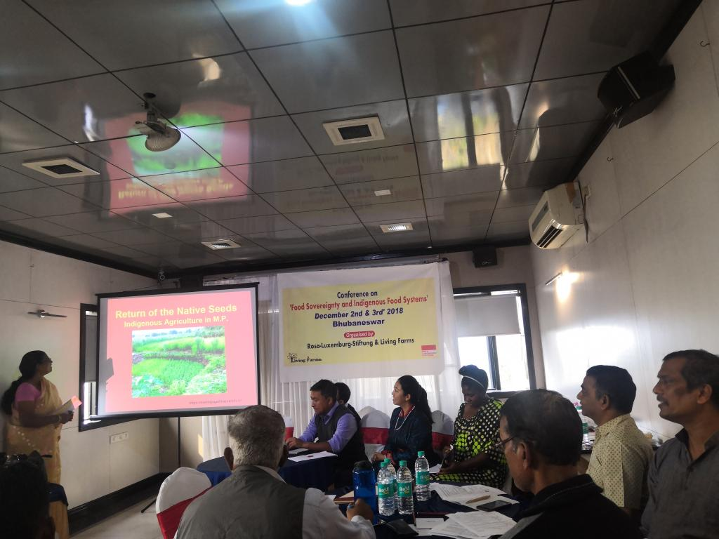 Participants at the Conference on Food Sovereignty and Indigenous Food Systems, organised by Living farms, Odisha and Rosa Luxemburg Stiftung (RLS), Germany in Bhubaneswar on December 2. Credit: Meenakshi Sushma