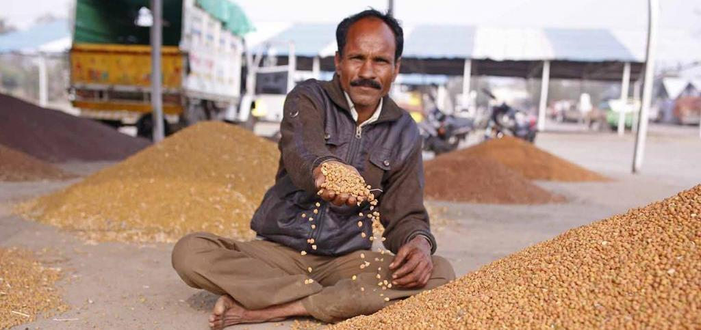 A farmer at an agricultural market in Hoshangabad, Madhya Pradesh. Indian farmers struggle to earn a profit over their investments.