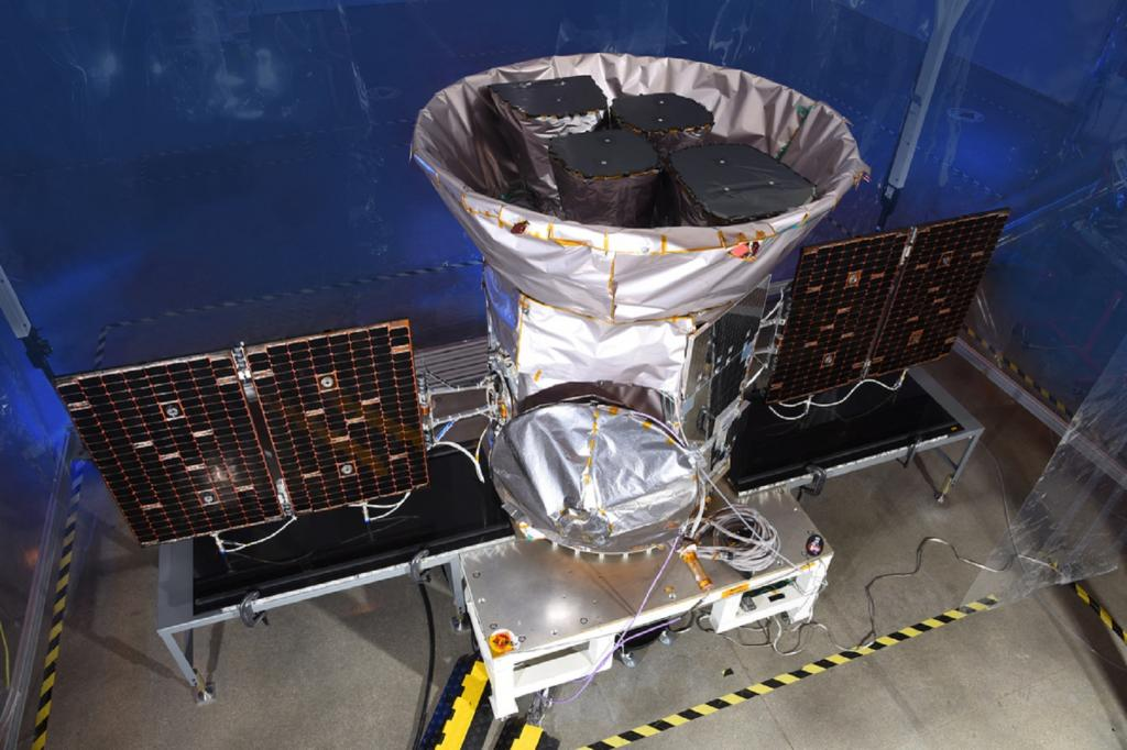 TESS was launched in April 2018 on a SpaceX Falcon 9 rocket, from Cape Canaveral Air Force Station in Florida. It's part of the NASA mission in search for planets outside our solar system, including those that could support life. Artist concept of TESS spacecraft/ Credit: NASA's Goddard Space Flight Center