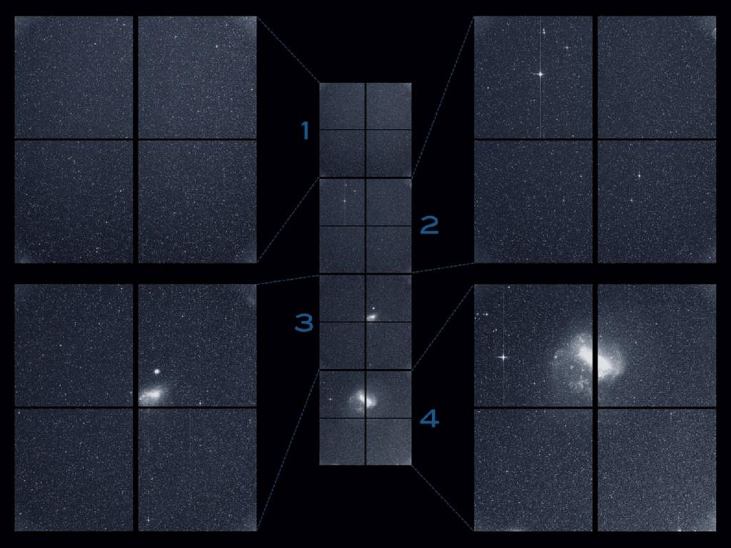 "TESS captured this strip of stars and galaxies in the southern sky in August 2018. Created by combining the view from all four of its cameras, this is TESS' ""first light,"" from the first observing sector which is now being used to identify planets around other stars. Its cameras also captured 100 short-lived changes, including six supernova explosions whose brightening light was recorded by TESS even before the outbursts were discovered by ground-based telescopes. Credit: NASA/MIT/TESS"