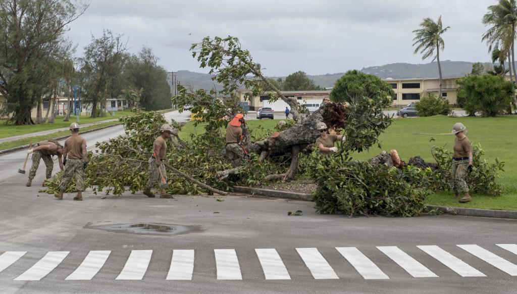 In total, cyclones worldwide caused above-average overall losses of $56bn, while around half of the losses were insured. Sailors remove debris on Naval Base Guam following Typhoon Mangkhut in the Philippines which killed more than 50 people. Photo credit: US Navy