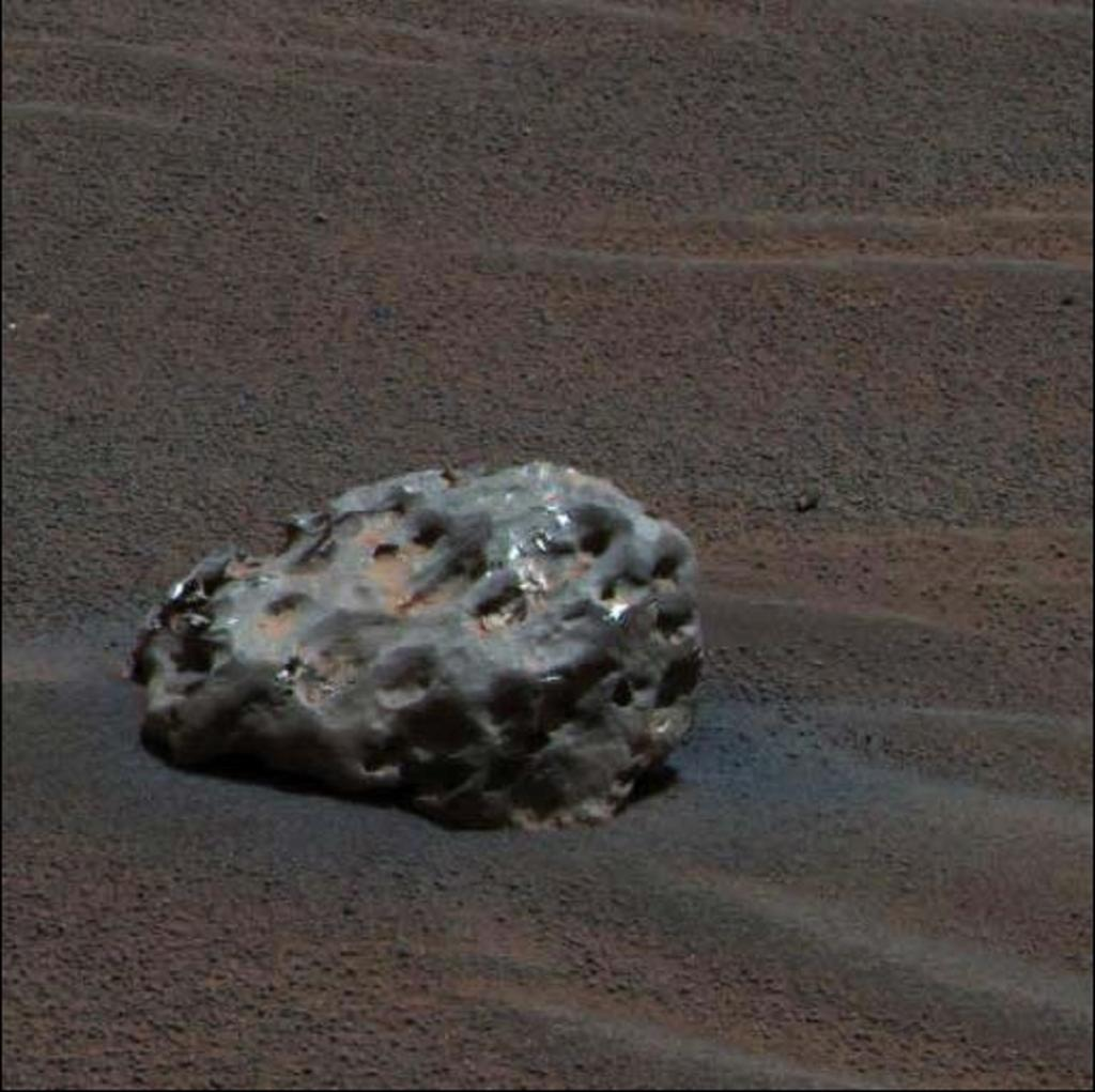 It found an iron meteorite on Mars, the first meteorite of any type ever identified on another planet. One of Opportunity's greatest scientific finding was confirming the presence of standing water on Mars. It affirmed the presence of hematite, gypsum rocks on Mars that are usually found in water. Photo: NASA