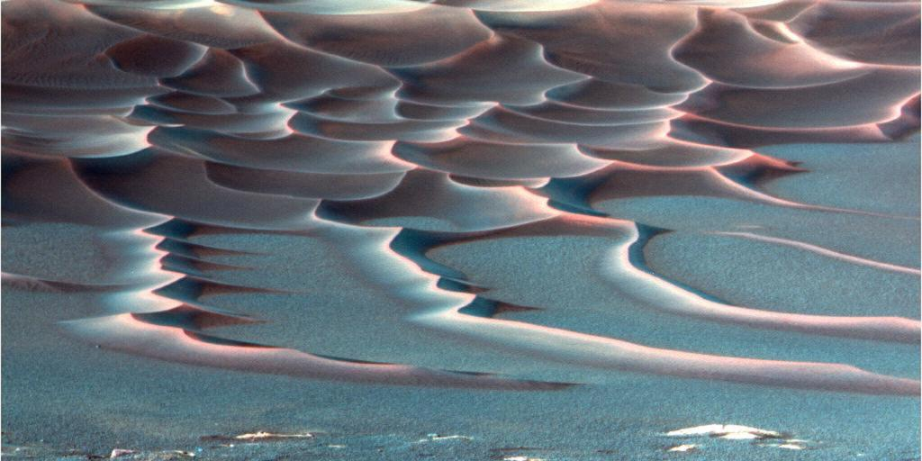 A false-color image of the dune field in Endurance Crater, taken by Opportunity. The rover has shown the world that it's possible to operate one for more than a decade on another planet. Photo: NASA