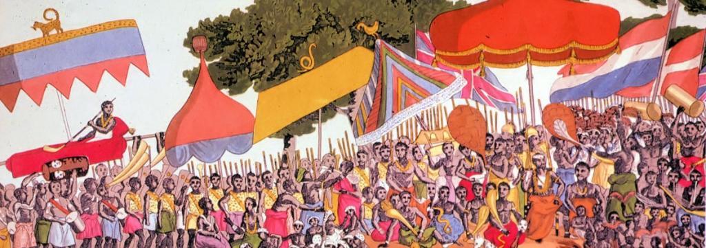Ashanti yam ceremony, 19th century by Thomas E. Bowdich. Image: Wikipedia