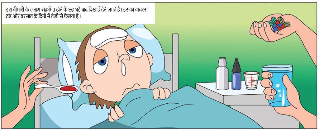 इस बीमारी के लक्षण संक्रमित होने के छह घंटे बाद दिखाई देने लगते हैं। इसका वायरस ठंड और बरसात के दिनों में तेजी से फैलता है।