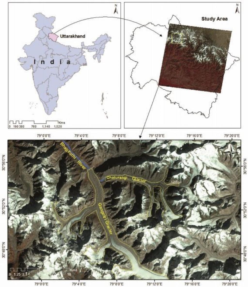 चतुरंगी ग्लेशियर की सीमाओं की वर्तमान स्थिति के साथ अध्ययन क्षेत्र का मानचित्र