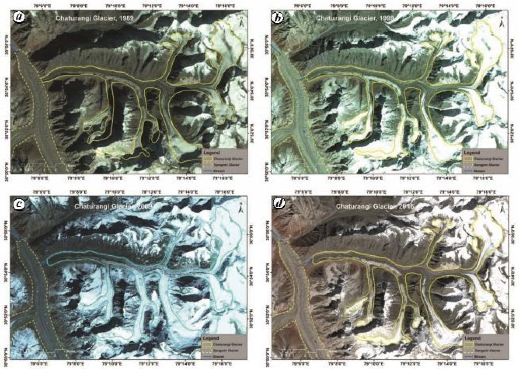 विभिन्न वर्षों में चतुरंगी ग्लेशियर की सीमाओं को दर्शाता उपग्रह चित्र