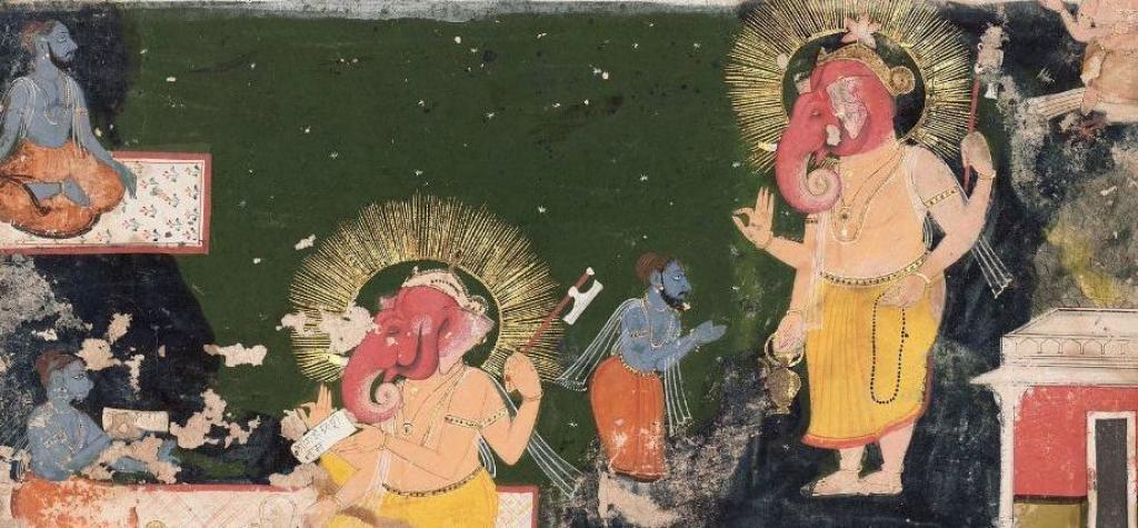 Ganesha writing the Mahabharata, dictated by Vyasa. Image: Wikipedia