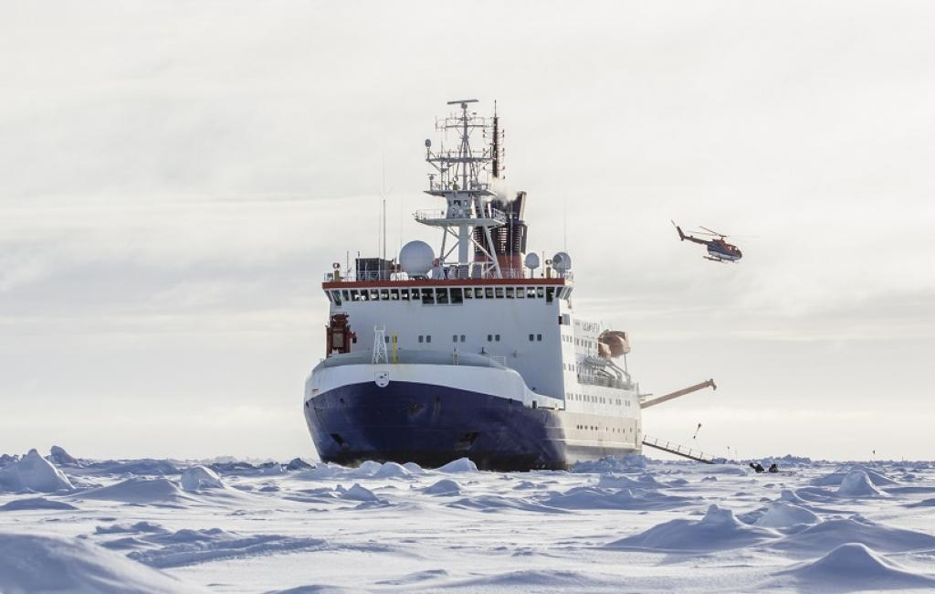 A research icebreaker docked to an ice floe in the Antarctic. Photo: Getty Images