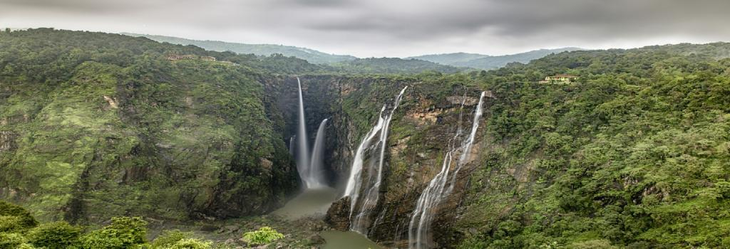 The Jog Falls in Karnataka, surrounded by forests. Credit: Getty Images