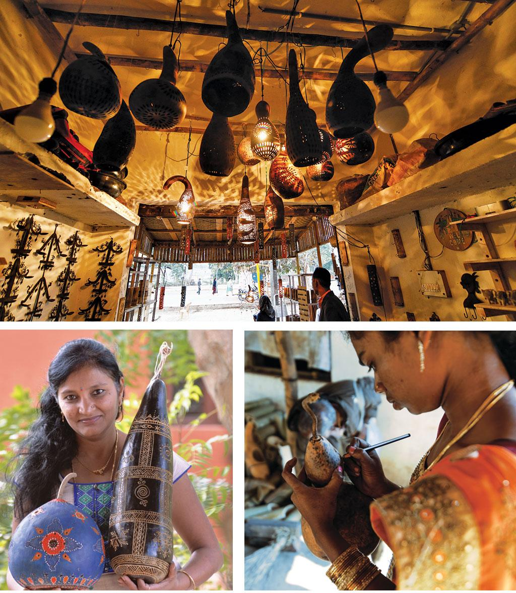 (Top) Lighted gourd lamps create magic at Jagat Ram Dewangan's shop  near Chitrakote waterfalls in Bastar; (left) Mysuru-based artist Seema Prasad has set up Kala Krishi to popularise indigenous gourd varieties as well as gourd art (right)Kunti Vatti tries her hand at creating a butterfly on a gourd shell in Golawand village of Kondagaon, Chhattisgarh (Photo: Sahaja Samrudha)