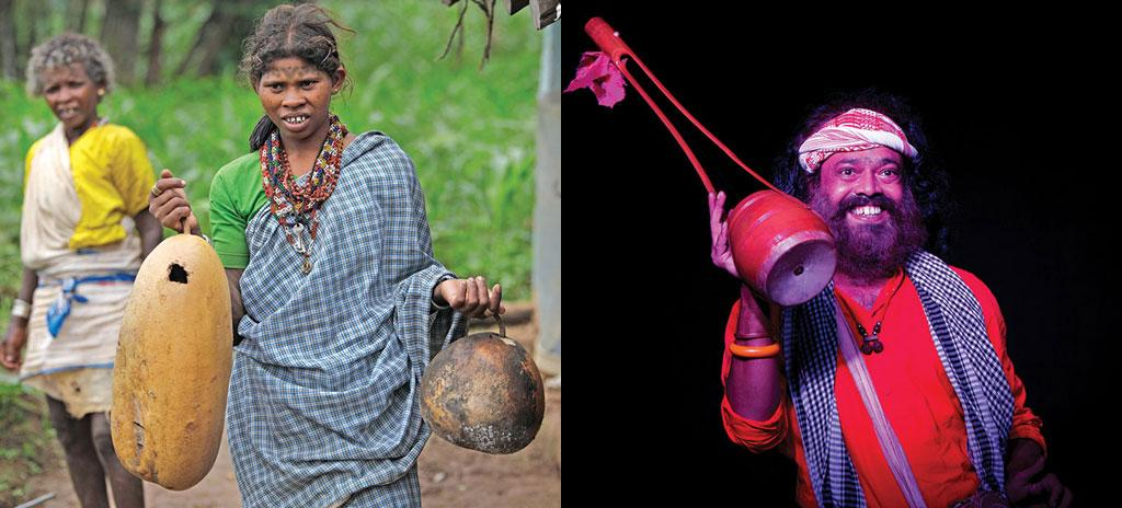 (Left) Most Baigas of Madhya Pradesh use dried gourd shells to store water. They say the shell keeps the water cool even in scorching heat. (right) A Baul singer charms his audience during a festival at Noida, in the National Capital Region, with his ektara, one-stringed musical instrument made of dried gourd shell (Photo: Rajit Sengupta)
