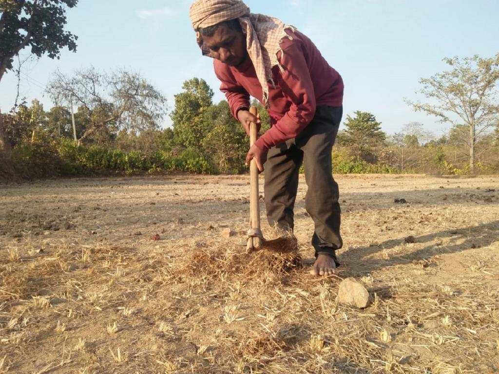 Tal Hembrom of Bandar Chowk village under Dagranwa panchayat is worried about his parched farm land. He could not produce any crop in 2018. The year 2019 has had a rough start. Photo: Chhandosree