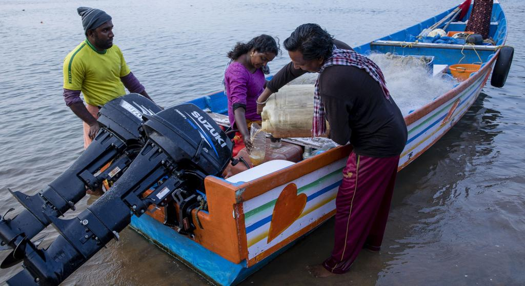 She goes to work on a small fibre boat with two old engines — which is not the safest option as it could fail anytime. But she remains undaunted even when the Arabian Sea is rough. She believes the sea is her mother and will protect her against all odds. Photo: Midhun V