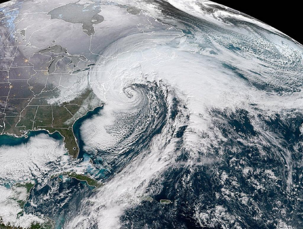 The National Oceanic and Atmospheric Administration (NOAA) GOES-16 satellite image of the bomb cyclone moving up the East Coast in January 2017. Photo: NOAA/NASA