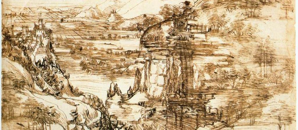 Leonardo da Vinci, Landscape drawing for Santa Maria della Neve on August 5, 1473. Photo: Wikimedia commons