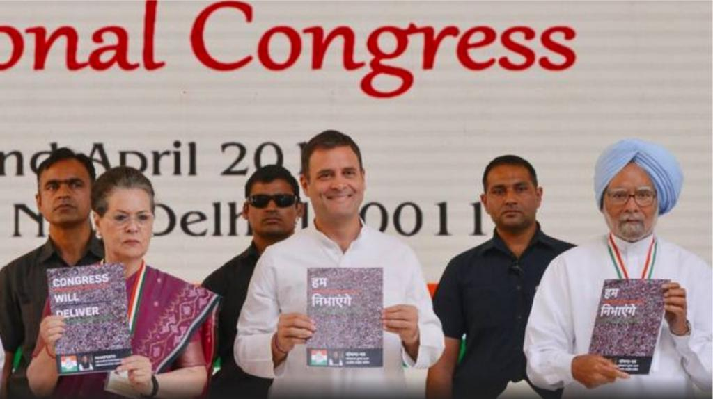 Sonia and Rahul Gandhi and Dr. Manmohan Singh releasing the Congress manifesto. Photo: Twitter