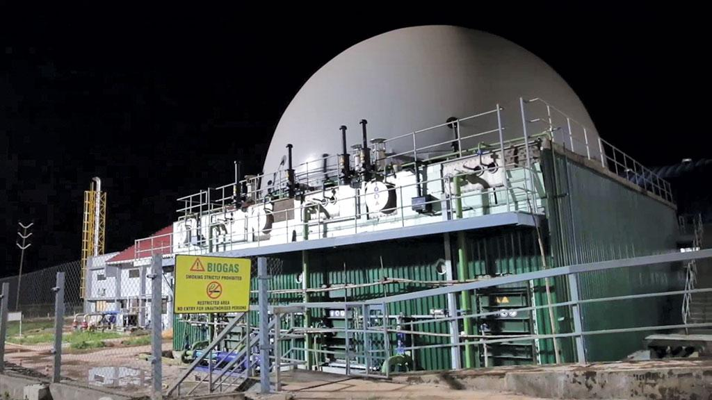 The Saligao biomethanization plant in Calangute, Goa, takes up to 35-40 tonnes per day of segregated biodegradable waste daily to generate biogas (Credit: HINDUSTAN WASTE Treatment)
