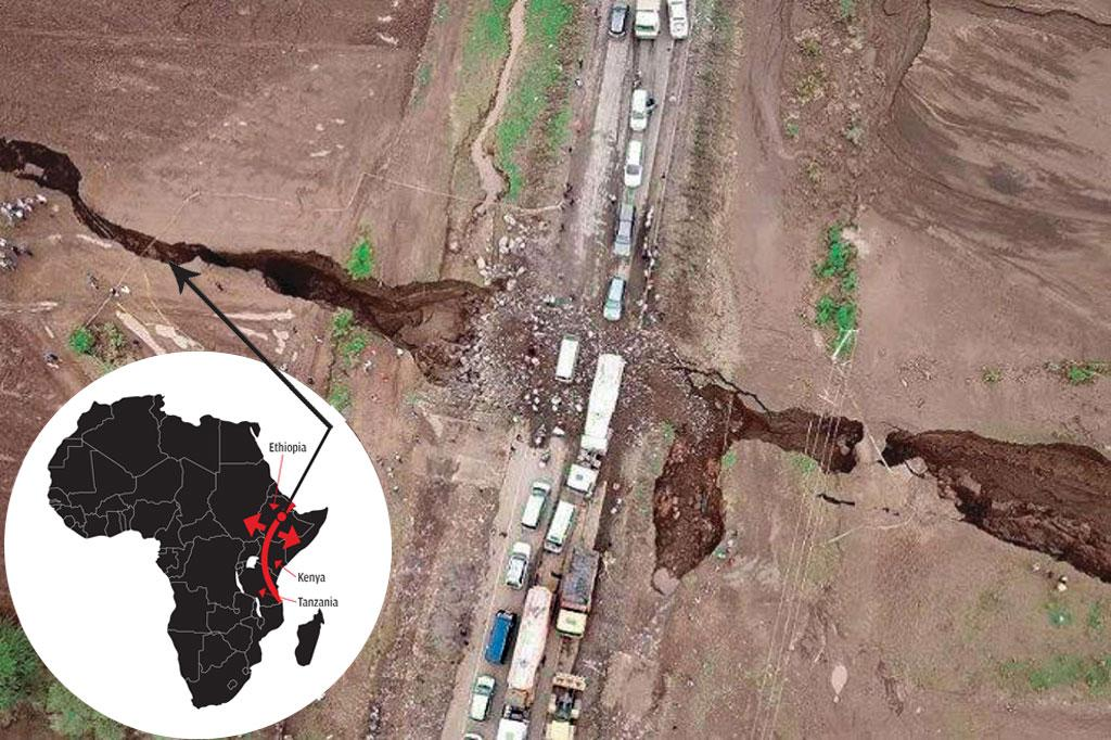 The crack that appeared in Narok County, Kenya, in 2018 is 57 km long