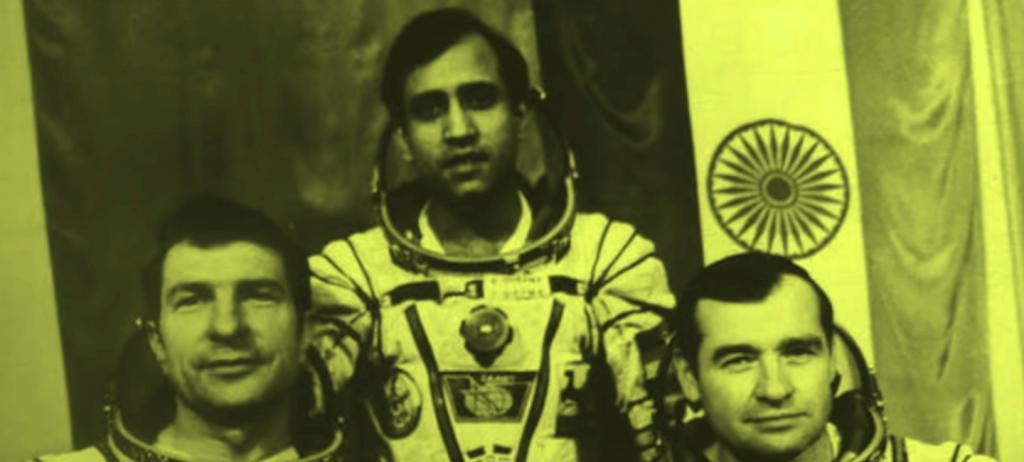 Rakesh Sharma with Russia's Yury Malyshev and Gennady Strekalov went to space on the Soyuz T-11. Photo: Youtube