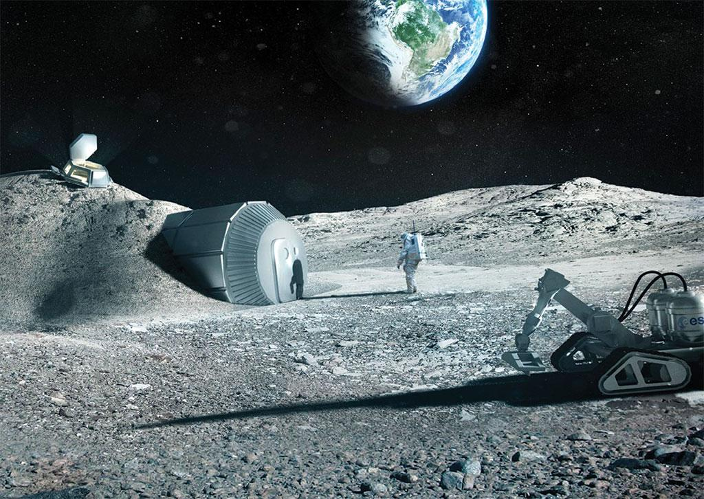 The design of a future habitat on the moon prepared by London-based architectural firm Foster+Partners