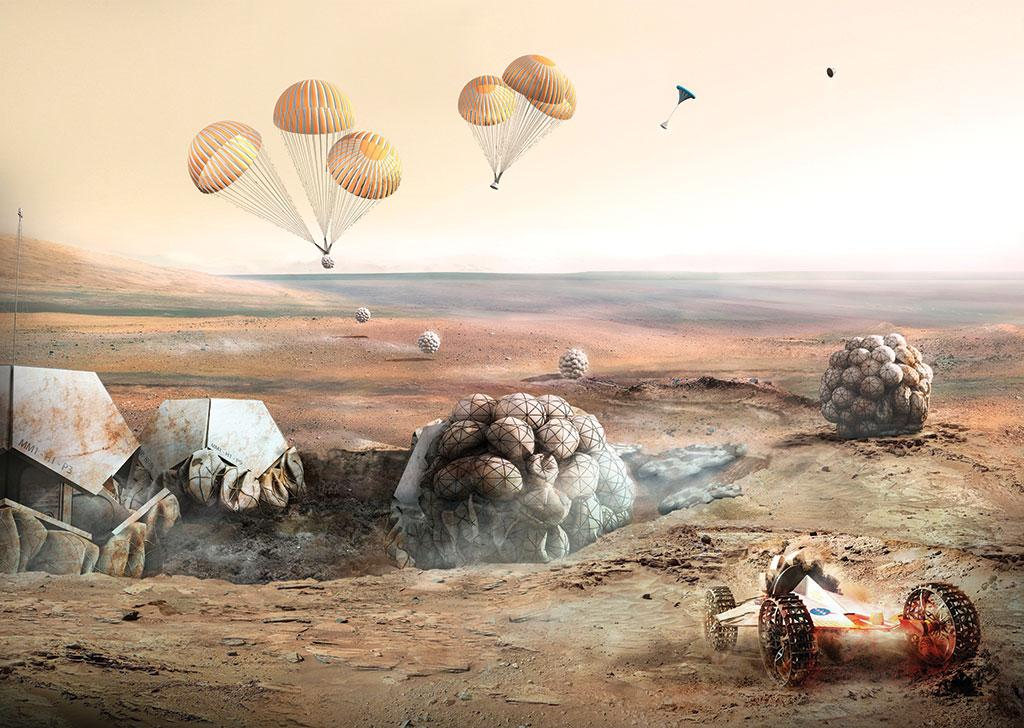 Robots and inflatable bases transported to the Martian surface for  