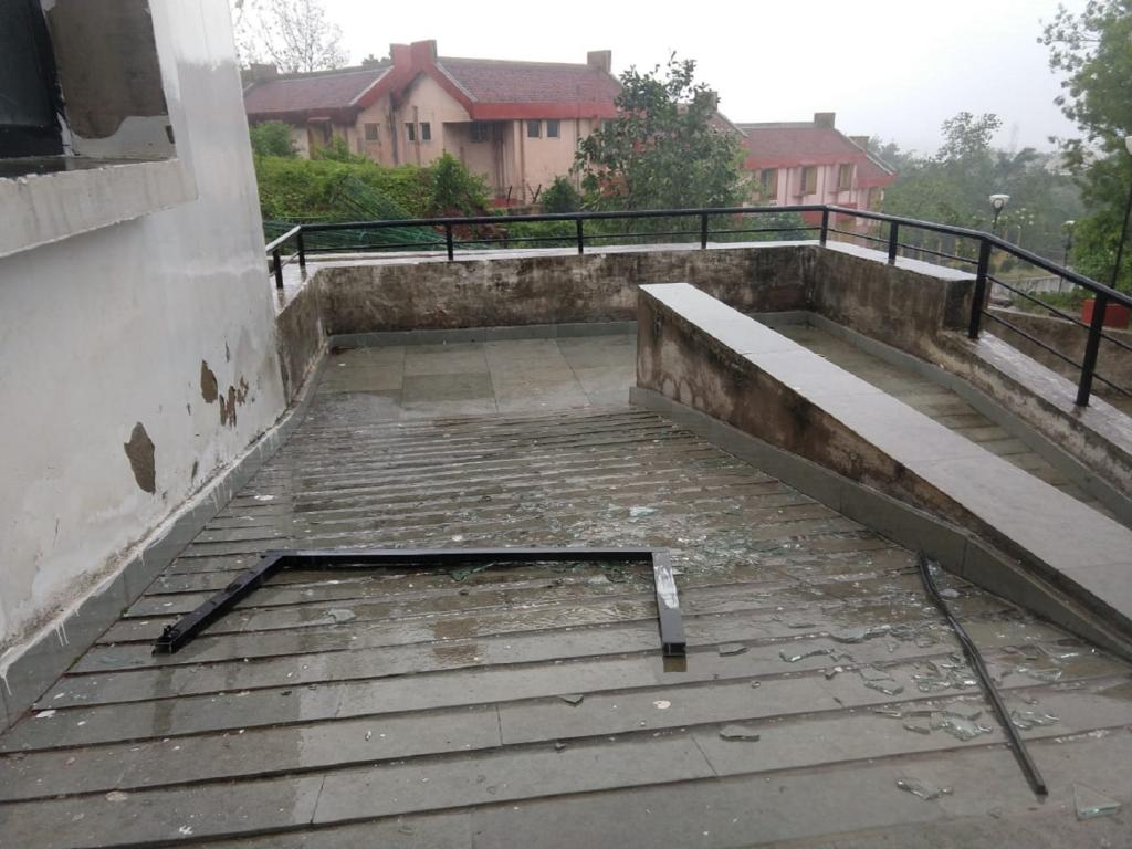 The wind was so strong in Dhenkanal, it yanked out the window at a guesthouse in IIMC. Photo: Mrinal Chatterjee