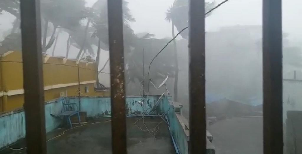 The coastal areas of the state witnessed turbulent winds uprooting electricity poles and trees in many areas. Photo: Ashis Senapati