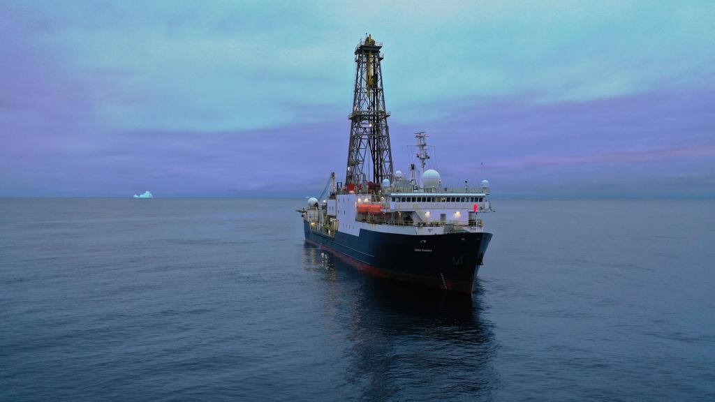 60 days in Iceberg Alley, drilling for marine sediment to decipher Earth's climate 3 million years ago. The research vessel must dodge dangerous icebergs as it drills for sediment core samples. Photo: Phil Christie/IODP, CC BY-ND