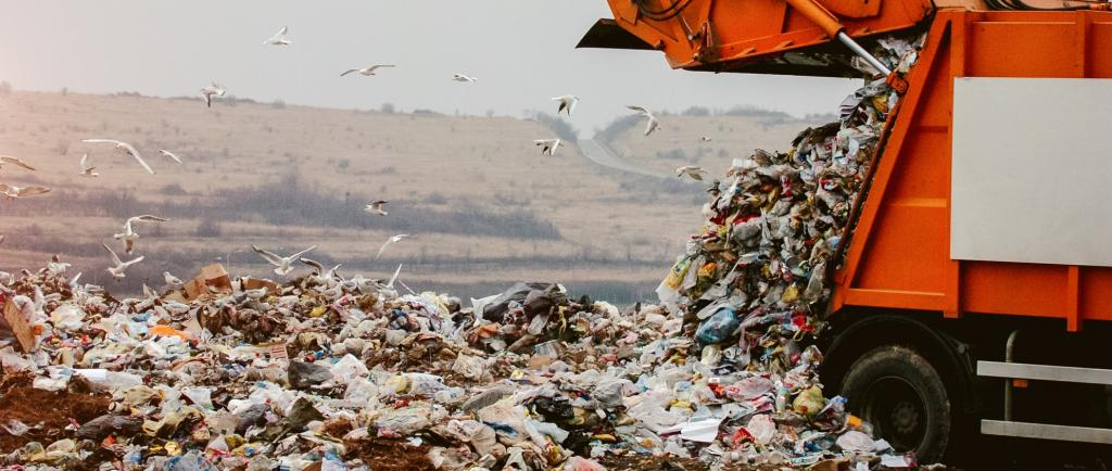 Plastic waste being dumped in a landfill. Photo: Getty Images