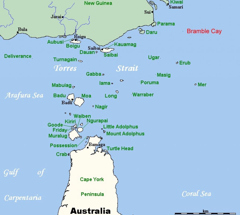 A map of the islands in the Torres Strait between Australia and New Guinea. Photo: Wikimedia Commons